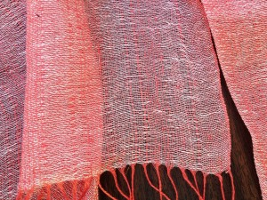 Article 434 in a white/pink crossweave. A hand tied fringe is available for custom sized panels.
