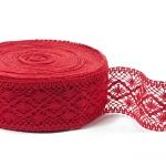 """Red Linen Lace #25 lace width: 6cm (2.36"""") 100% linen $9.15 p/yd"""