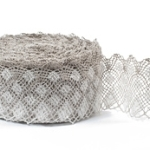 "White with Natural Linen Lace #31 lace width: 10cm (3.93"") 100% linen $11.25 p/yd"